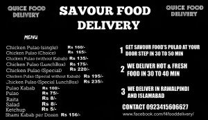 Quick Savour Food delivery in Rawalpindi Islamabad