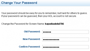 How to change AOL password - California